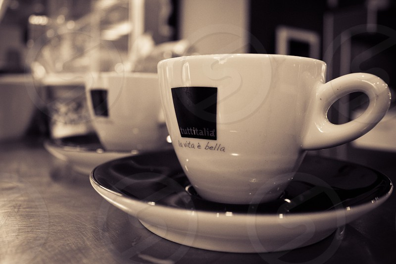 Coffee cups at a restaurant photo