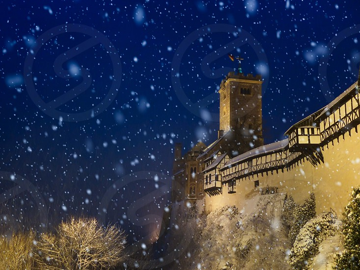 Snowy night at Wartburg castle (Germany) photo