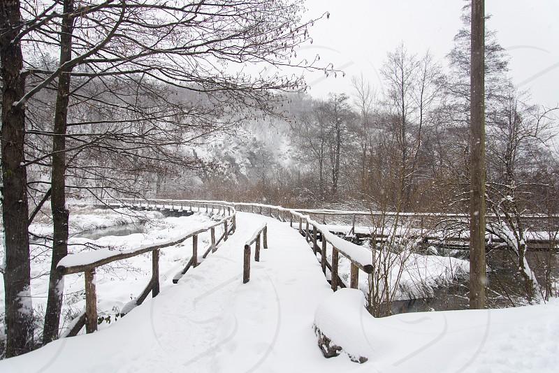 Plitvice Lakes National Park  Ice Snow Freeze storm photo
