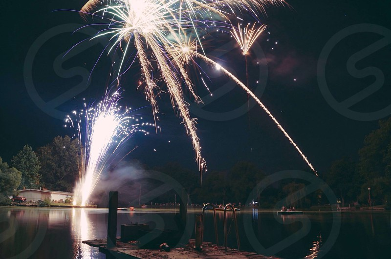 fireworks display at night photo