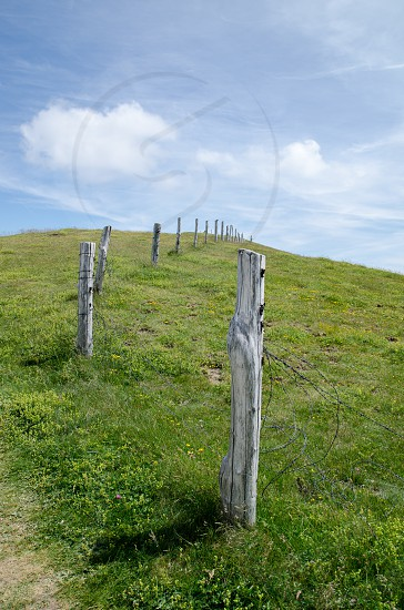 grey wooden post fence lodged on green grass field under clear blue sky photo