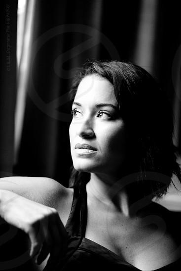 beautiful woman dreaming  photo