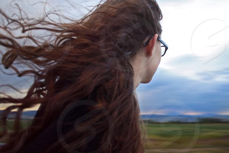 women's black rimmed eyeglasses photo