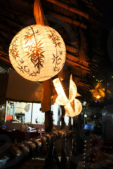 light lights circle circles lantern lanterns beach shack restaurant photo