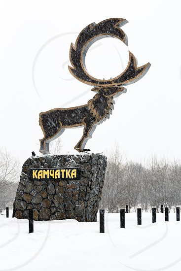 KAMCHATKA PENINSULA RUSSIA - NOV 15 2017: Sculpture of wild Kamchatka Reindeer (Rangifer tarandus) - symbol of Nachiki Village and sanatorium Nachiki. Inscription on pedestal: Kamchatka. photo