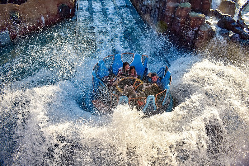 Orlando Florida. January 21 2019 People enjoying river attraction ride Infinity Falls at Seaworld Marine Theme Park (2) photo