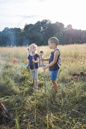 Children eating a marshmallows after roasting them over a campfire on a meadow. Candid people real moments authentic situations photo