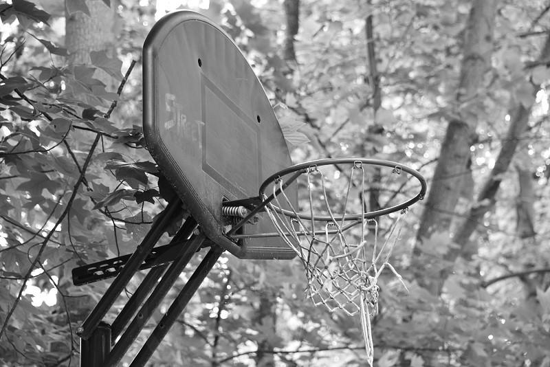 Old abandoned basketball hoop. photo