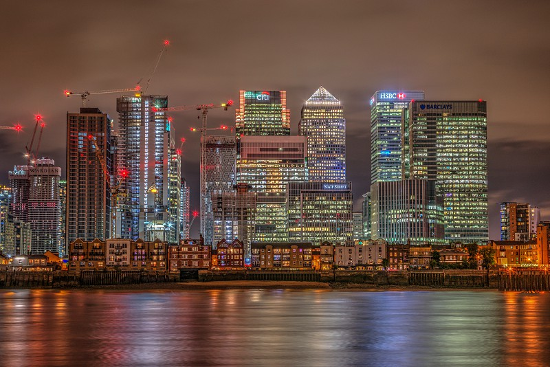 High Dynamic Range image of Canary Wharf at night taken from the O2 photo
