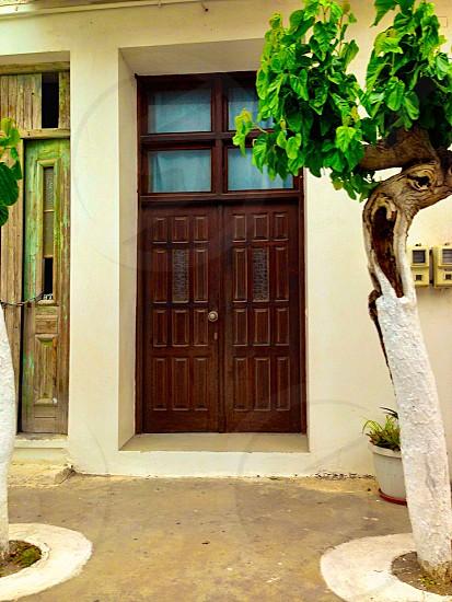Door in lovely Kreta! door brown small Windows step tree plant outside outdoors Kreta door knob  photo