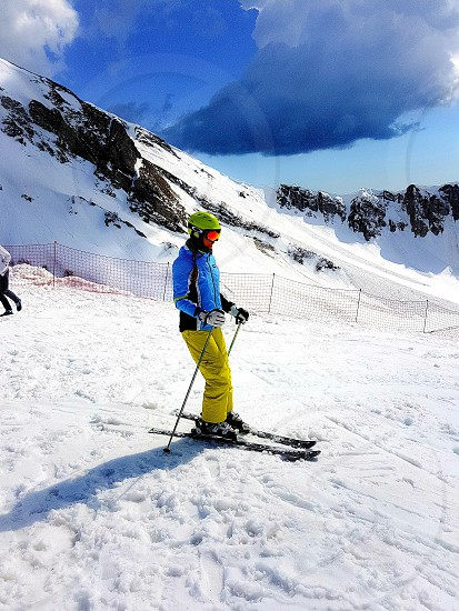 skiers winter sports mountains winter skiing photo