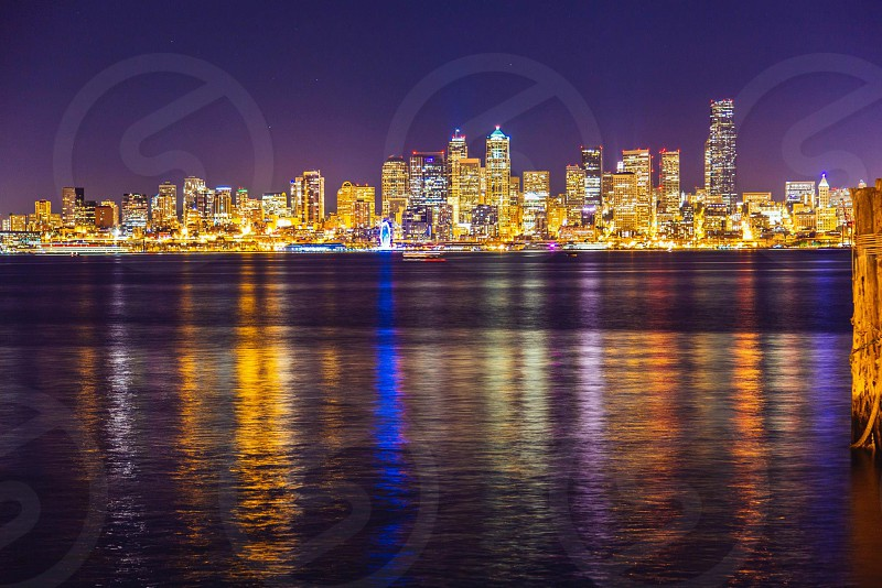 Seattle at night from across the bay.  photo