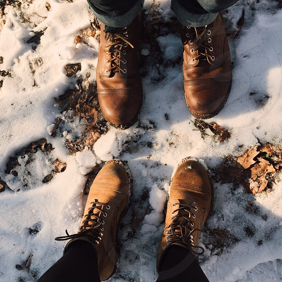 Iron Rangers red wings boots snow winter denim couple photo