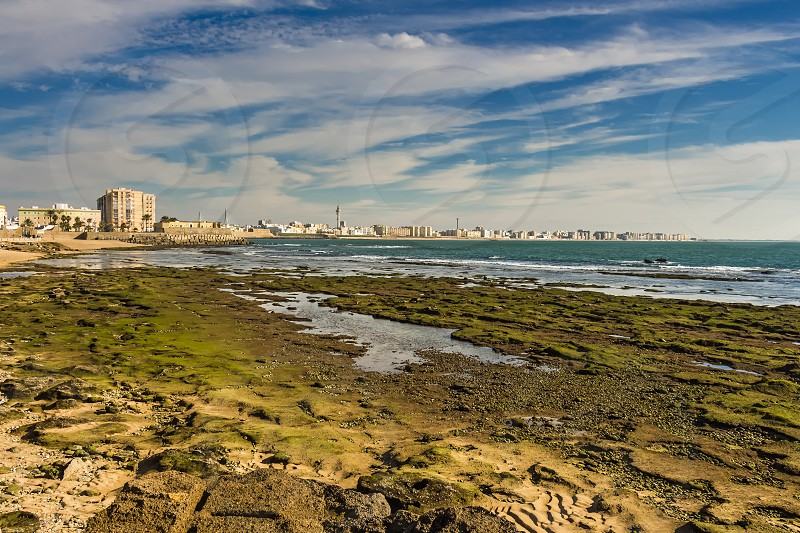 Moss covered rocks off the shores of Bay of Cadiz photo