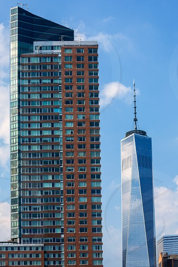Lower Manhattan with new skyline Freedom Tower New York NYC US photo