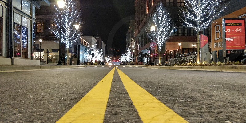 Street asphalt city night lights avenue  photo