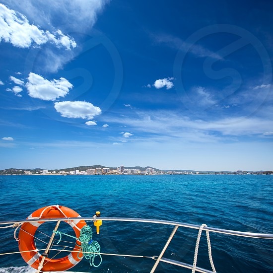 Ibiza San Antonio Abad Sant Antonio de Portmany view from boat at Balearic photo