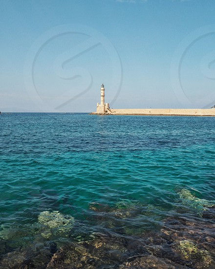 Chania water Sea harbor turquoise blue clear port light house Mediterranean Sea   photo