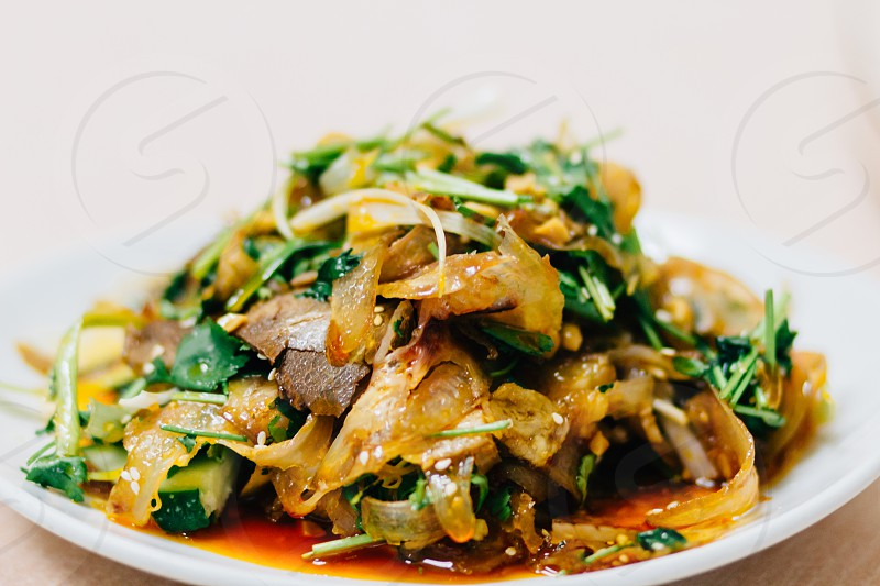vegetables and noodles with sauce dish photo