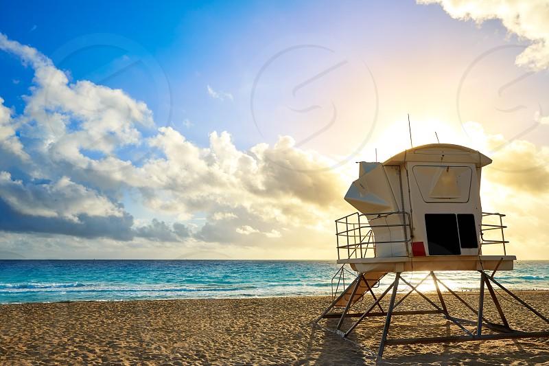 Fort Lauderdale beach morning sunrise in Florida USA baywatch tower photo
