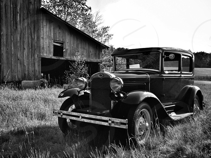 Vintage 1930 Ford Model A photographed on an old working farm black & white photo