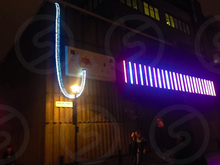 white and blue LED lights photo