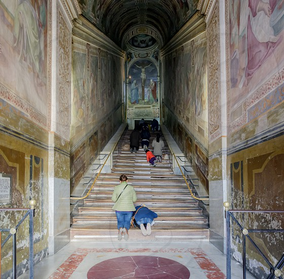 """Rome Italy April 2017: interior of the famous """"Scala Santa"""" (Holy Stairs) in Rome Italy photo"""