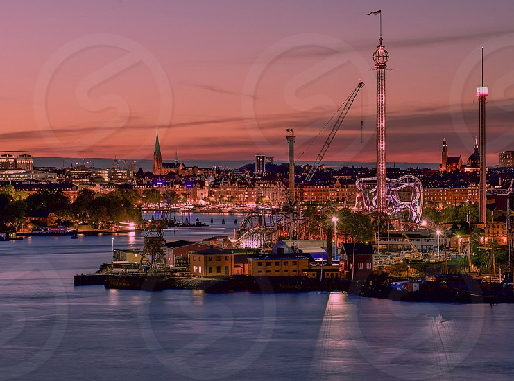 Skyline stockholm night photo