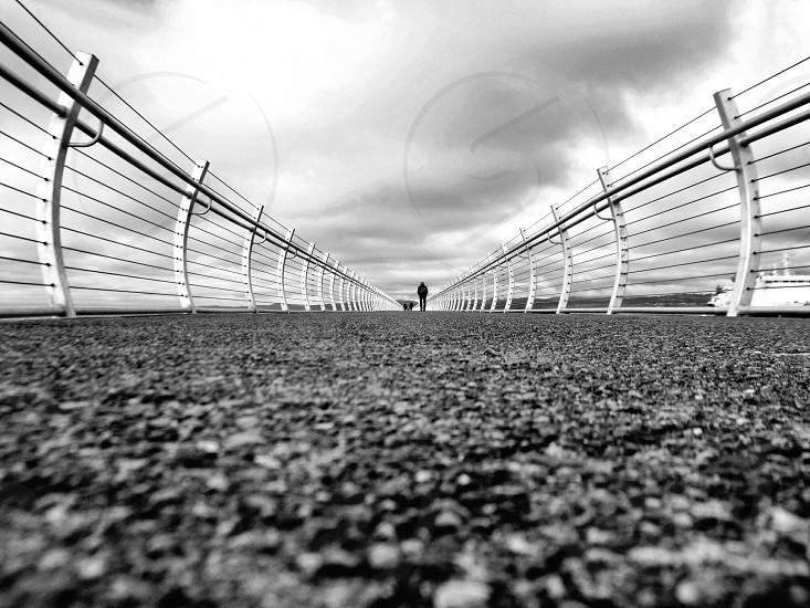 bridge with white railing  photo
