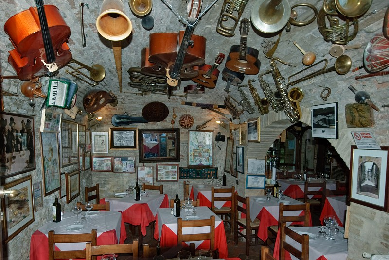 An interesting restaurant with a musical heritage situated in the mountain town Montefalco Italy photo