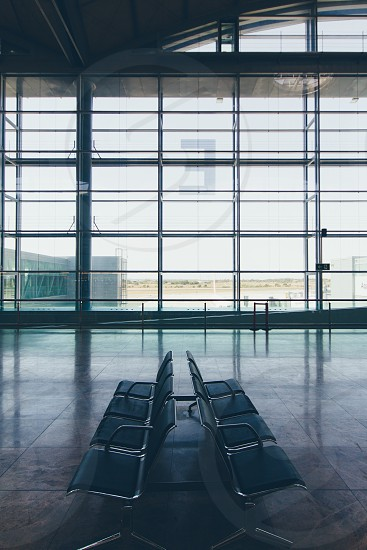stainless steel framed airport bench photo