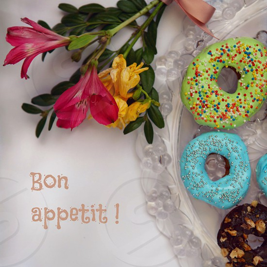 Beautiful dessert donuts photo