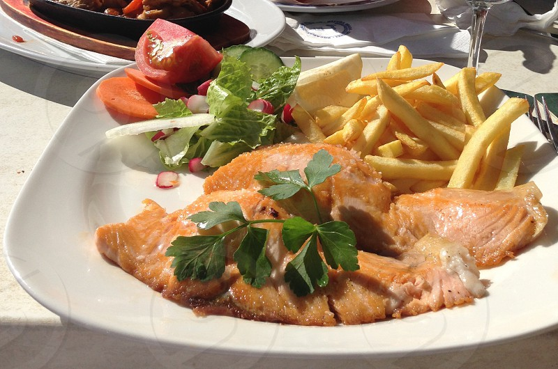 Salmon fish salad chips photo