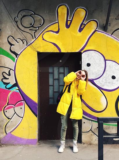 Yellow  vibrant  color colorful fun style photo