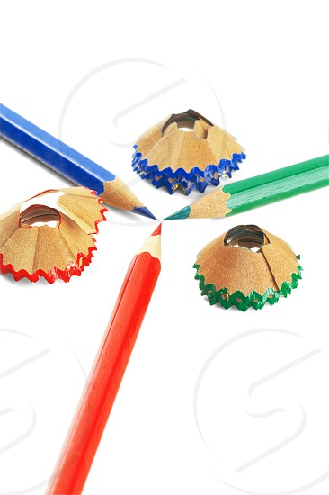 sharpened coulor pencils isolated over white background photo