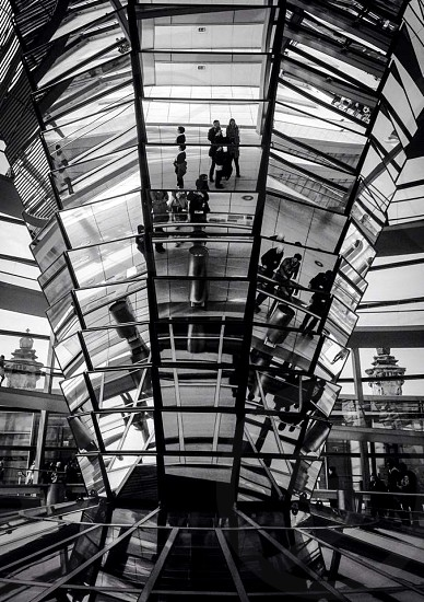 Indoor day horizontal black and white monochrome atrium glass mirror reflect dome people tourists sightseers light shadow reichstag Berlin Germany deutschland politics parliament political tourism sightseeing travel wanderlust roof rooftop Europe European capital city photo