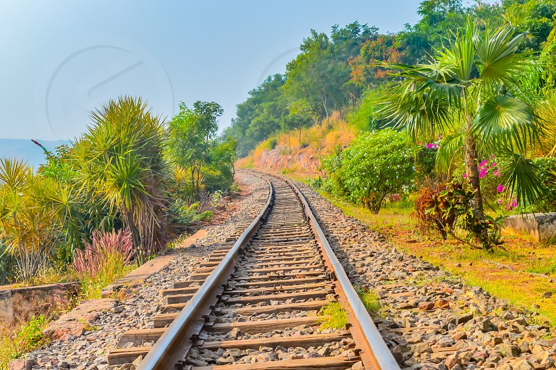 Photograph Mountain Railways Track Vizag India snap in landscape style. Subject is adventure inspiration exciting calm beautiful. Useful for background screen saver. Travel Transportation Concept photo