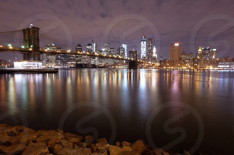 night city view across the river photo