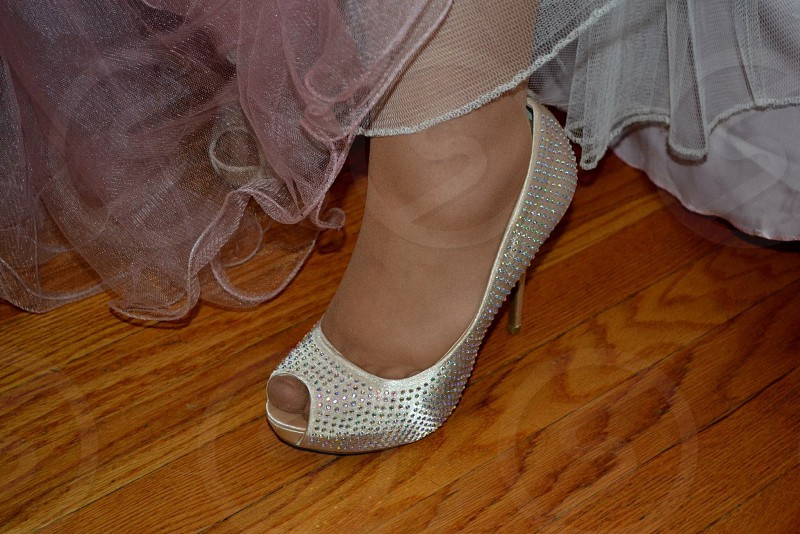 women's white peep toe heel with silver sequins photo