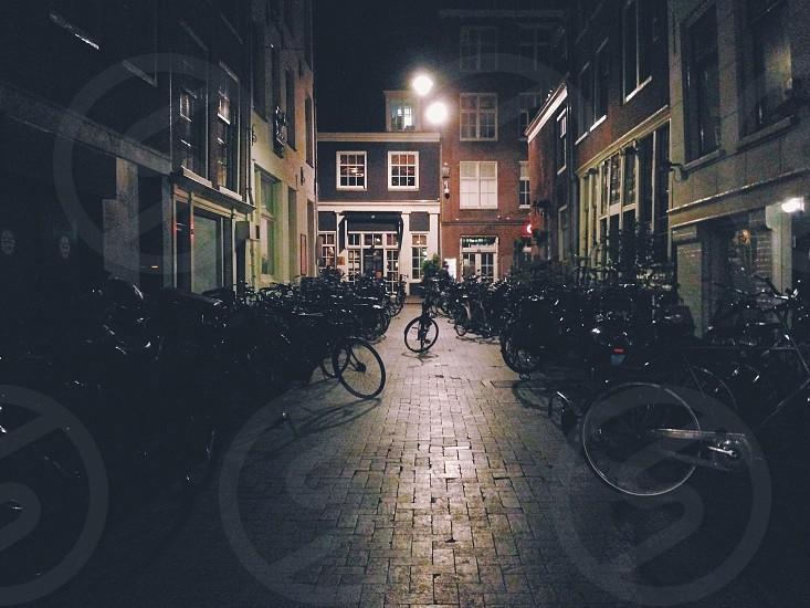 Street/parking on weekend nights in Amsterdam. photo