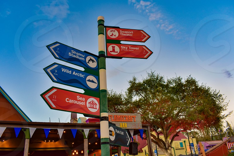 Orlando Florida . February 26  2019. Colorful attractions sign at Seaworld Theme Park . photo