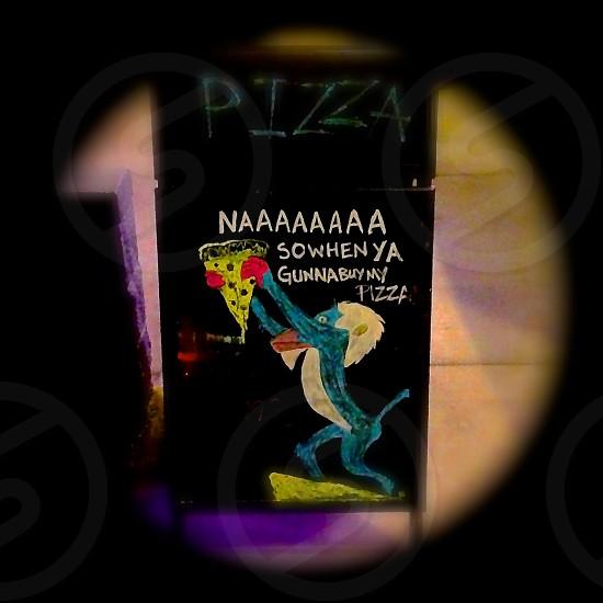 Pizza parody sign. photo