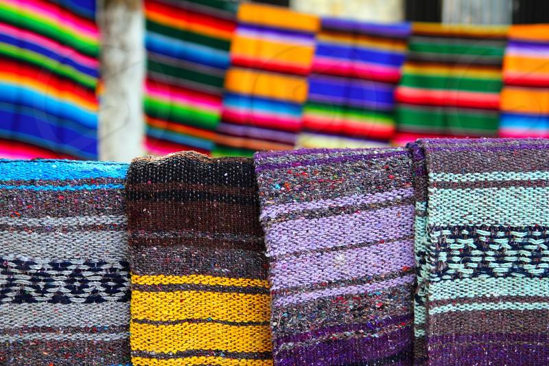 beautiful serape mexican blanket colorful pattern photo