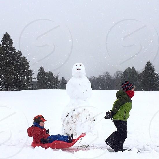 snowman and human photo