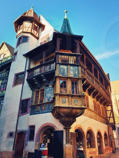 Colorful wooden building facade in Colmar city France Alsace. Historic town traditional house. Medieval architecture. photo