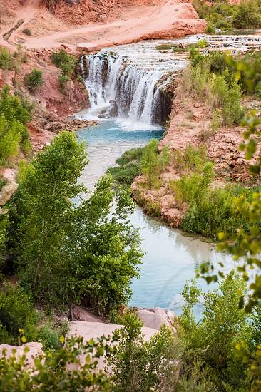 A waterfall in the Havasupai Reservation in Arizona. photo