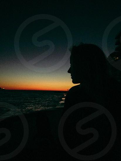 Sunset girl beautiful mallorca sun sand sea paradise photo