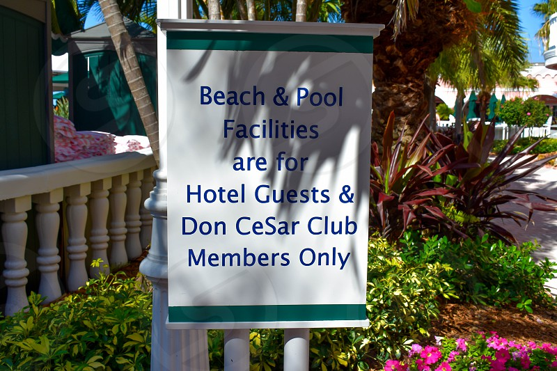St. Pete Beach Florida. January 25 2019 . Beach & Pool Facilities sign on Pool area in The Don Cesar Hotel. photo
