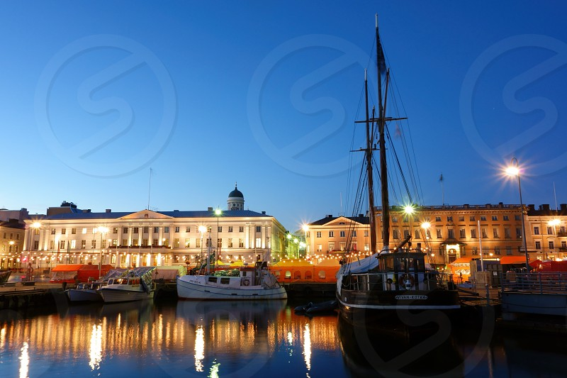 Helsinki Market Square in the early evening light during annual Baltic Herring Fair in the beginning of October 2015.  photo