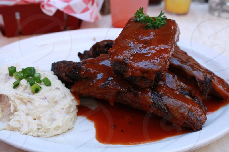 baby back ribs with mashed potato side dish photo
